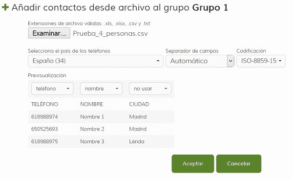Importar contactos desde archivo