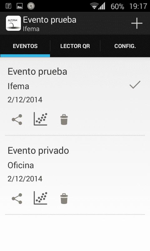 Aplicación móvil control acceso QR - Listado de eventos