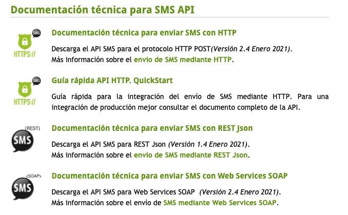 Envio SMS PHP. Paso 2. Descarga la documentación técnica