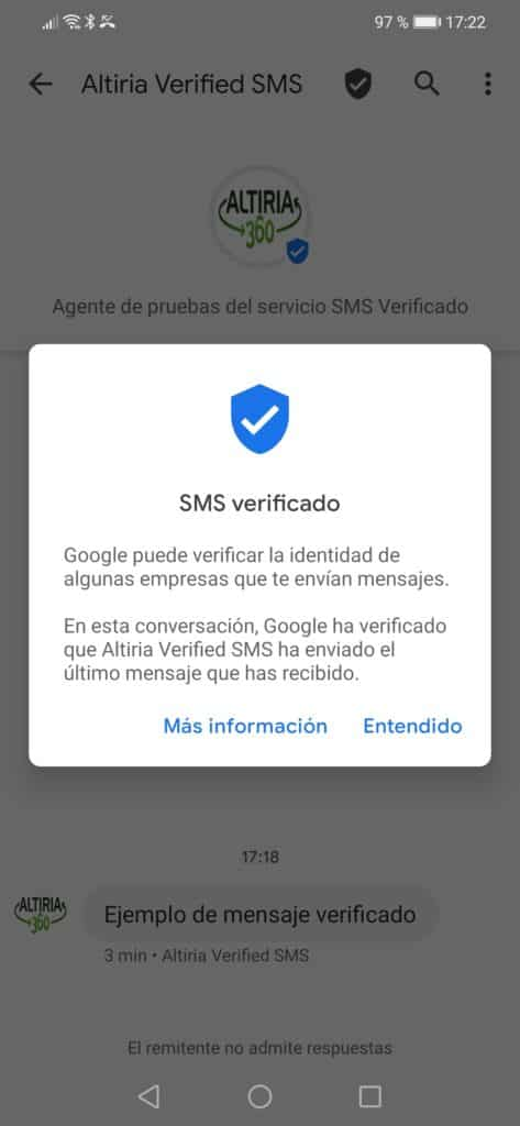 Aviso Android SMS verificados