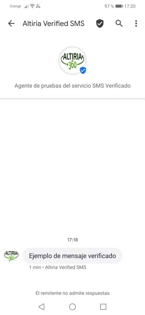 Ejemplo SMS verificado